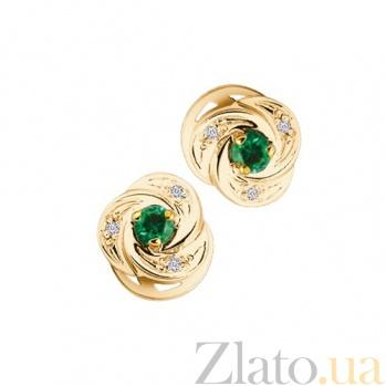 Золотые серьги-пуссеты с изумрудами и бриллиантами Anita KBL--С2195/крас/изум/брил