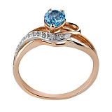 Кольцо из красного золота с голубым топазом и бриллиантами Лори