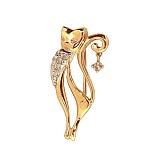 Золотая брошь с бриллиантами Кошка