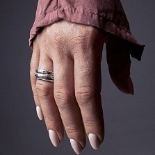 Тройное кольцо из серебра Giraffe с чернением