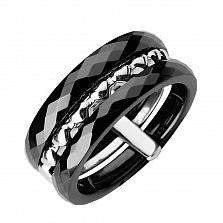 Серебряное кольцо Илария с черной керамикой и сердечками