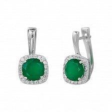 Серебряные серьги Альбина с зеленым агатом и фианитами