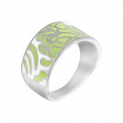 Серебряное кольцо Мир цветов с зеленой и белой эмалью