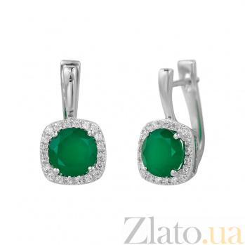 Серебряные серьги Альбина с зеленым агатом и фианитами 000081868