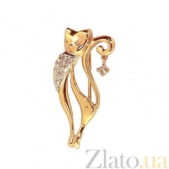 Золотая брошь с бриллиантами Кошка  ZMX--BD-6836_К