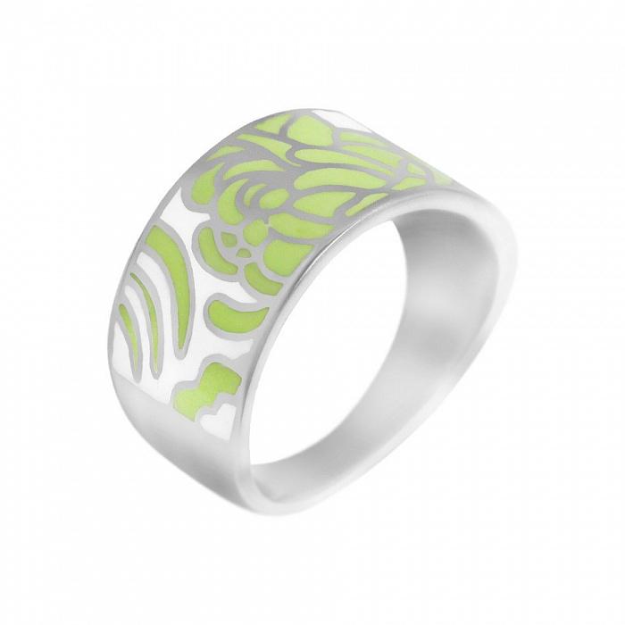Серебряное кольцо Мир цветов с зеленой и белой эмалью 000081561