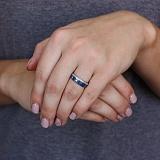 Серебряное кольцо Зимний узор с эмалью и фианитами