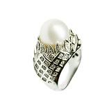 Золотое кольцо с жемчугом и бриллиантами Империя