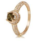 Золотое кольцо Шарлотта с дымчатым кварцем и фианитами
