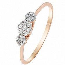 Кольцо в красном золоте Лия с бриллиантами
