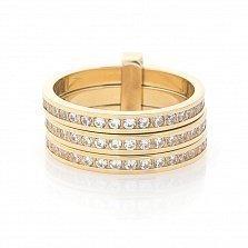 Золотое тройное кольцо с фианитами Паджет