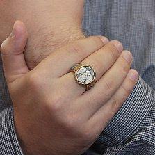 Мужской серебряный перстень Архангел Михаил в позолоте с чернением