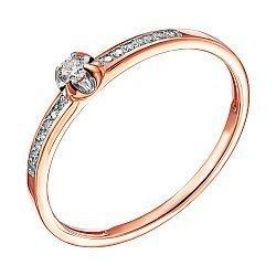 Кольцо из красного золота с бриллиантами и родированием 000138379