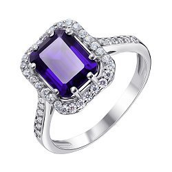 Серебряное кольцо с танзанитом и фианитами 000136557