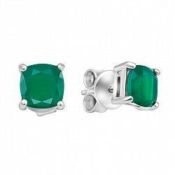Серебряные серьги-пуссеты с зеленым агатом 000133455