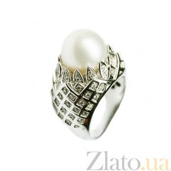 Золотое кольцо с жемчугом и бриллиантами Империя 000026948