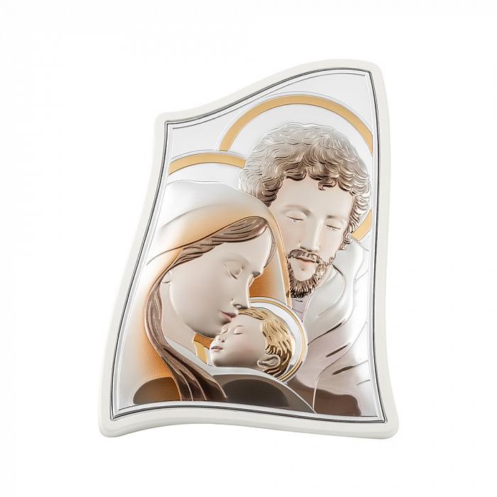 Серебряная икона Святое Семейство с эмалью 000148347 000148347