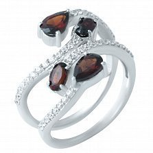 Серебряное кольцо Лиана с гранатом и фианитами