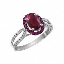 Кольцо Изобилие цвета из белого золота с рубинами и бриллиантами