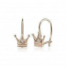 Серебряные серьги Королевна с цирконием и позолотой