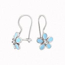 Серебряные детские серьги Милые цветочки с голубой эмалью и фианитами