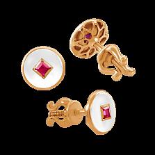 Серьги-пусеты с эмалью и рубинами Solomia