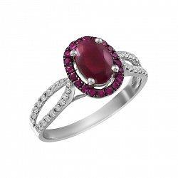 Кольцо цвета из белого золота с рубинами и бриллиантами 000118985