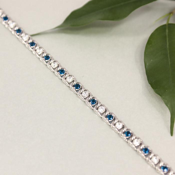 Серебряный браслет Мирена со светло-синим и белым цирконием 000091798