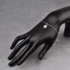 Серебряный браслет Клевер с цветочками, бусинами и фианитами