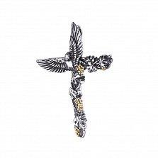 Серебряный крестик Крылья веры в комбинированном цвете с птицей и плетущимся виноградом