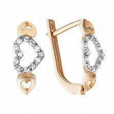 Золотые серьги Сердца трех с бриллиантами