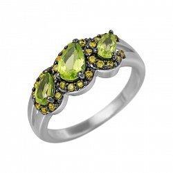 Серебряное кольцо Инара с оливковым хризолитом и фианитами 000081596