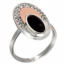 Кольцо из серебра Эдем с золотой вставкой, ониксом и фианитами