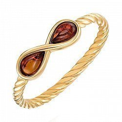 Серебряное кольцо с янтарем и позолотой 000137649