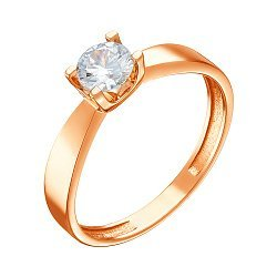 Кольцо из красного золота с цирконием 000079580