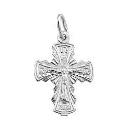 Серебряный крестик Свет веры с родированием 000066981