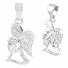 Серебряный подвес Сердце ангела с фианитами