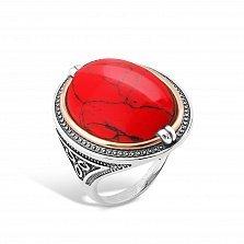 Серебряное кольцо Роксолана с золотой накладкой и красной яшмой