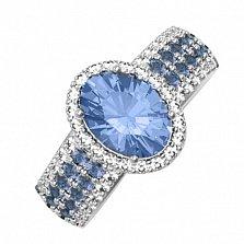Серебряное кольцо Орнелла с кварцем танзанит и фианитами