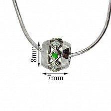 Серебряная подвеска Blessing с зелёными гранатами и бриллиантами