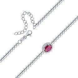 Серебряный браслет с рубином и фианитами 000140355