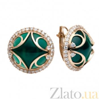 Золотые серьги с зеленым агатом Амани 000030618