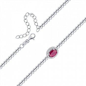 Срібний браслет із рубіном і фіанітами 000140355