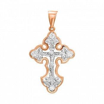 Золотой крестик в комбинированном цвете с фианитами 000132769