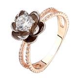 Золотое кольцо Водяная лилия с фианитами