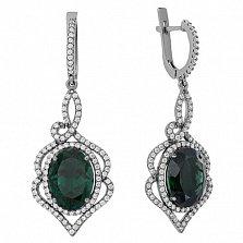 Серебряные серьги-подвески Василиса с зеленым кварцем и цирконием