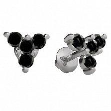 Серебряные пуссеты Декабрина с черными фианитами