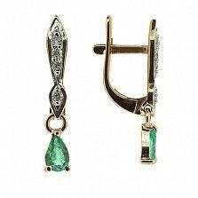 Золотые серьги с бриллиантами и изумрудами Жаклин