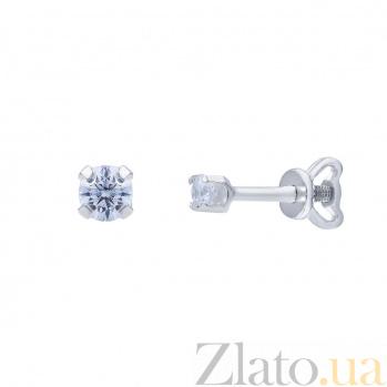 Серебряные серьги с белым цирконом Фея AQA--72305б