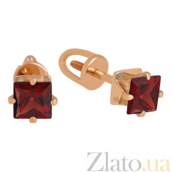 Серьги из красного золота с гранатами Принцесса VLN--113-1764-3